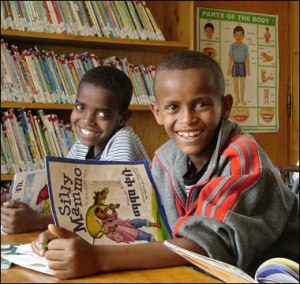 Ethiopian boys in a library